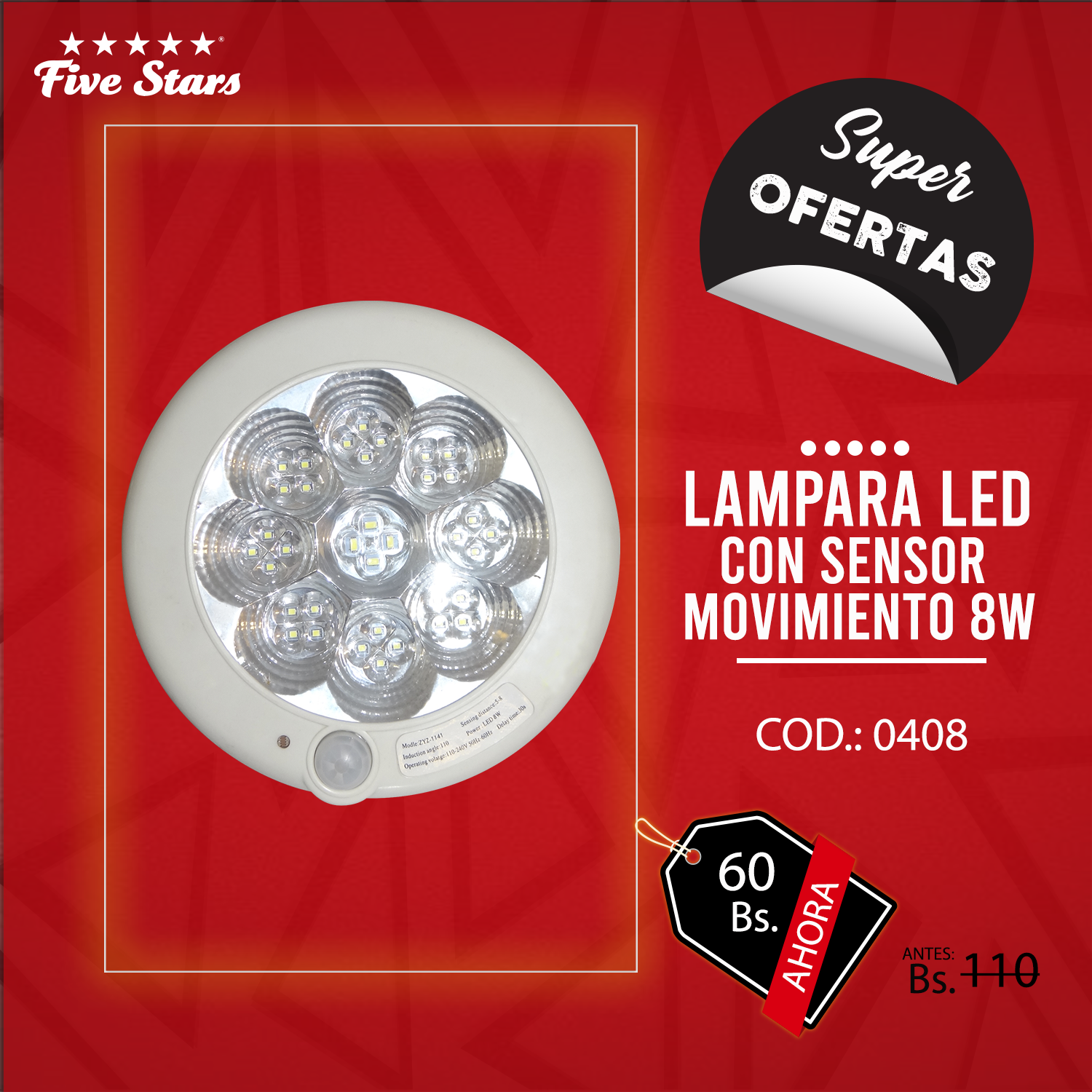 Lámpara Led c/ Sensor de Movimiento 8w