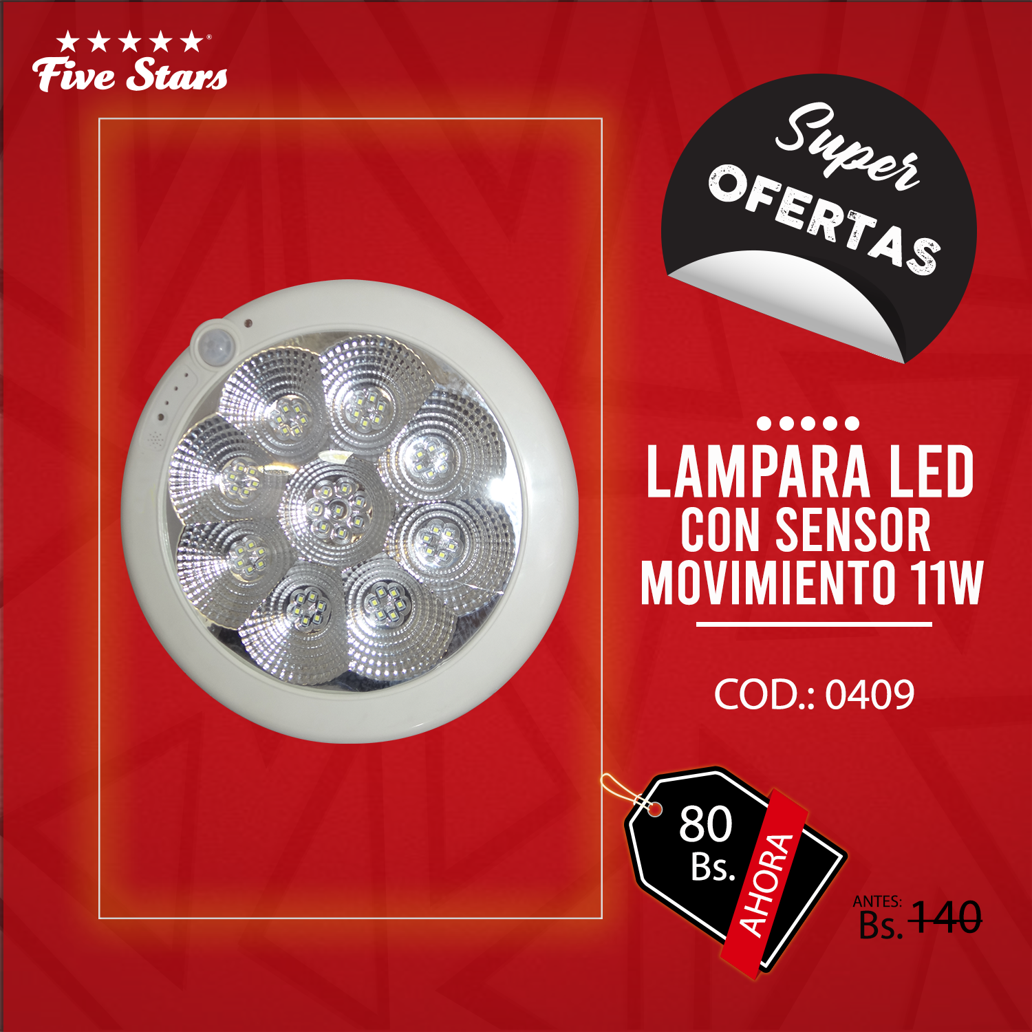 Lámpara Led c/ Sensor de Movimiento 11W