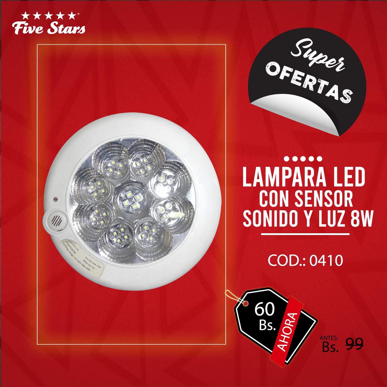 Lámpara Led c/ Sensor de Sonido y Luz 8W