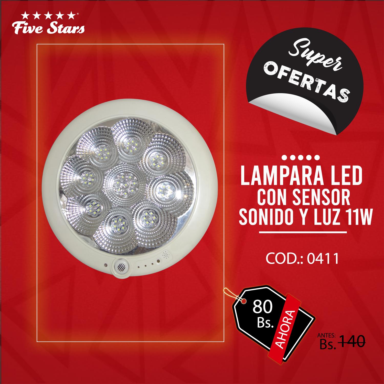 Lámpara Led c/ Sensor de Sonido y Luz 11W