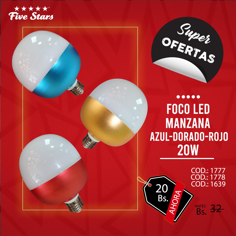 FOCO LED MANZANA AZUL -DORADO – ROJO 20W